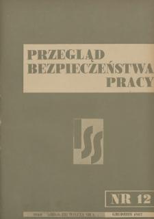 Przegląd Bezpieczeństwa Pracy : 1937, nr 12