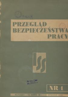 Przegląd Bezpieczeństwa Pracy : 1938, nr 1