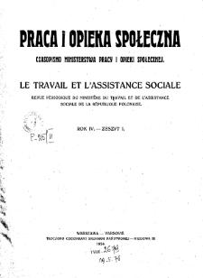 Praca i Opieka Społeczna : 1924, nr 1