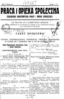 Praca i Opieka Społeczna : 1925, nr 1-2