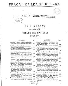Praca i Opieka Społeczna : 1930, spis rzeczy