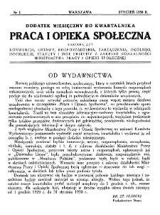 Praca i Opieka Społeczna : 1930, dodatek nr 1