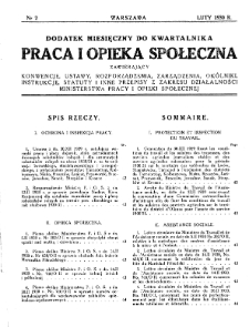 Praca i Opieka Społeczna : 1930, dodatek nr 2