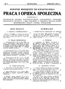 Praca i Opieka Społeczna : 1930, dodatek nr 4