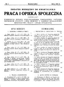 Praca i Opieka Społeczna : 1930, dodatek nr 5