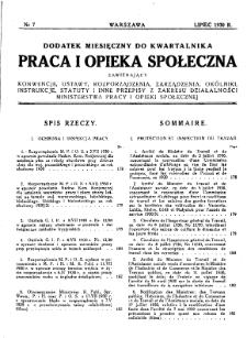 Praca i Opieka Społeczna : 1930, dodatek nr 7