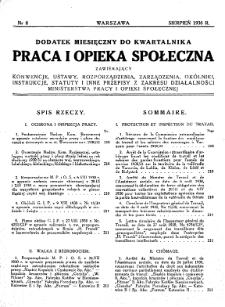 Praca i Opieka Społeczna : 1930, dodatek nr 8
