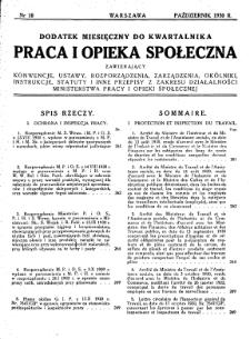 Praca i Opieka Społeczna : 1930, dodatek nr 10