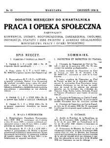 Praca i Opieka Społeczna : 1930, dodatek nr 12