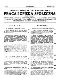 Praca i Opieka Społeczna : 1931, dodatek nr 5