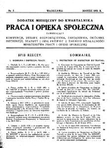 Praca i Opieka Społeczna : 1931, dodatek nr 3