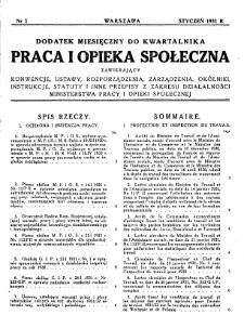 Praca i Opieka Społeczna : 1931, dodatek nr 1