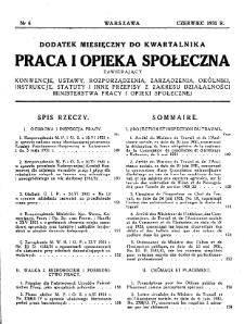 Praca i Opieka Społeczna : 1931, dodatek nr 6