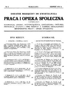 Praca i Opieka Społeczna : 1931, dodatek nr 8