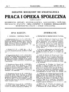Praca i Opieka Społeczna : 1931, dodatek nr 7