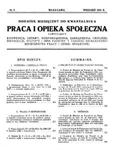 Praca i Opieka Społeczna : 1931, dodatek nr 9