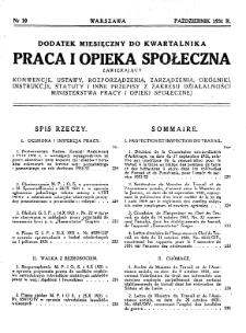 Praca i Opieka Społeczna : 1931, dodatek nr 10