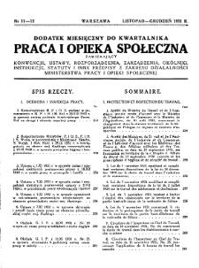 Praca i Opieka Społeczna : 1931, dodatek nr 11-12