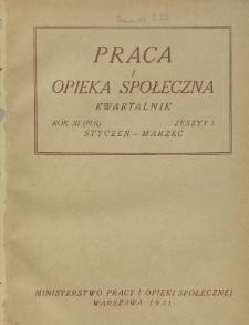 Praca i Opieka Społeczna : 1931, nr 1