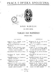 Praca i Opieka Społeczna : 1931, spis rzeczy