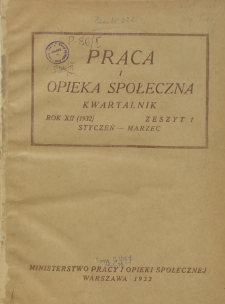 Praca i Opieka Społeczna : 1932, nr 1