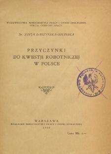 Przyczynki do kwestji robotniczej w Polsce