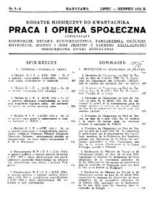 Praca i Opieka Społeczna : 1932, dodatek nr 7-8