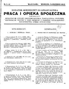 Praca i Opieka Społeczna : 1932, dodatek nr 9-10