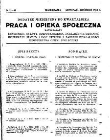 Praca i Opieka Społeczna : 1932, dodatek nr 11-12