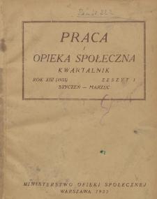 Praca i Opieka Społeczna : 1933, nr 1