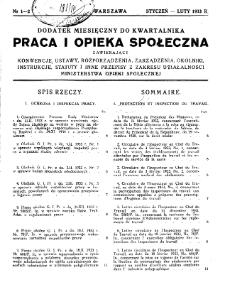 Praca i Opieka Społeczna : 1933, dodatek nr 1-2