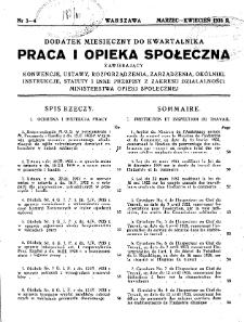 Praca i Opieka Społeczna : 1933, dodatek nr 3-4