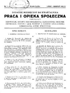 Praca i Opieka Społeczna : 1933, dodatek nr 7-8