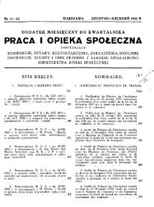 Praca i Opieka Społeczna : 1933, dodatek nr 11-12