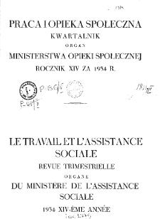 Praca i Opieka Społeczna : 1934, spis rzeczy
