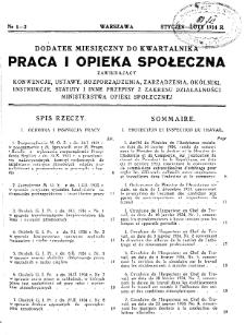 Praca i Opieka Społeczna : 1934, dodatek nr 1-2