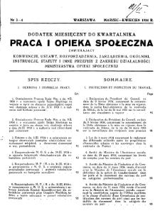 Praca i Opieka Społeczna : 1934, dodatek nr 3-4