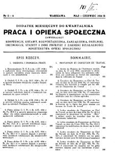 Praca i Opieka Społeczna : 1934, dodatek nr 5-6