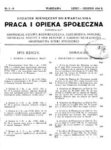 Praca i Opieka Społeczna : 1934, dodatek nr 7-8