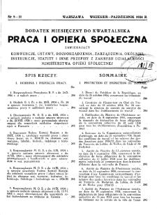 Praca i Opieka Społeczna : 1934, dodatek nr 9-10