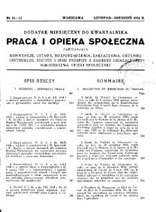 Praca i Opieka Społeczna : 1934, dodatek nr 11-12