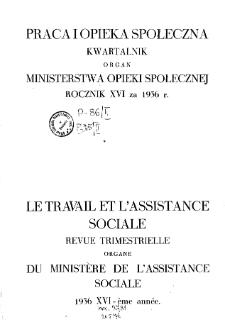 Praca i Opieka Społeczna : 1936, spis rzeczy