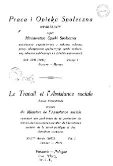 Praca i Opieka Społeczna : 1937, nr 1