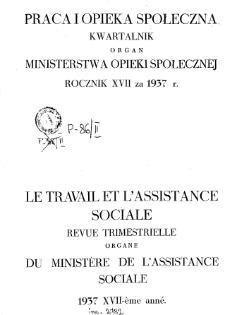 Praca i Opieka Społeczna : 1937, spis rzeczy