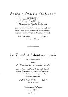Praca i Opieka Społeczna : 1938, nr 1
