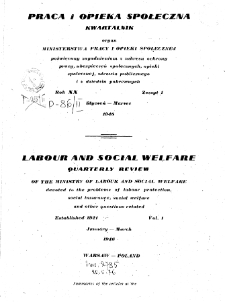 Praca i Opieka Społeczna : 1946, nr 1