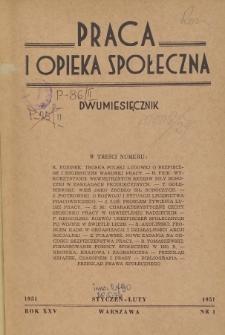 Praca i Opieka Społeczna : 1951, nr 1