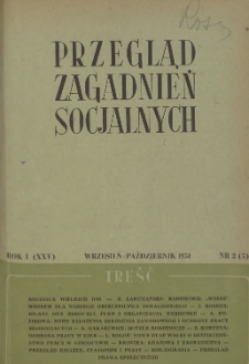 Przegląd Zagadnień Socjalnych : 1951, nr 2