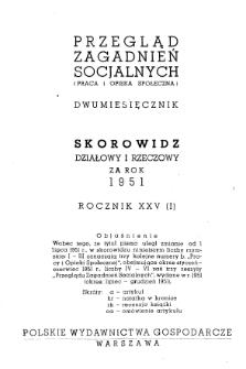 Przegląd Zagadnień Socjalnych : 1951, skorowidz działowy i rzeczowy