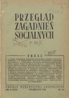 Przegląd Zagadnień Socjalnych : 1952, nr 1-2